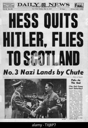 1941 Daily News (New York) Rudolf Hess flies to Britain - Stock Photo