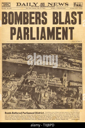 1941 Daily News (New York) British Parliament bombed - Stock Photo