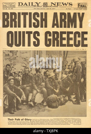 1941 Daily News (New York) British army quit Greece - Stock Photo