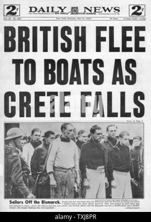 1941 Daily News (New York) Crete falls - Stock Photo