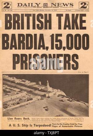 1941 Daily News (New York) North Africa British take Bardia - Stock Photo