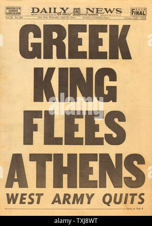 1941 New York Daily News Greek king leaves Greece - Stock Photo