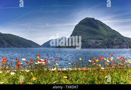 View of Lugano lake, Switzerland, Europe. - Stock Photo