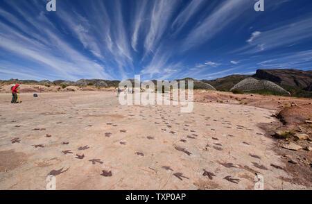 Dinosaur footprints in Torotoro National Park, Torotoro, Bolivia - Stock Photo