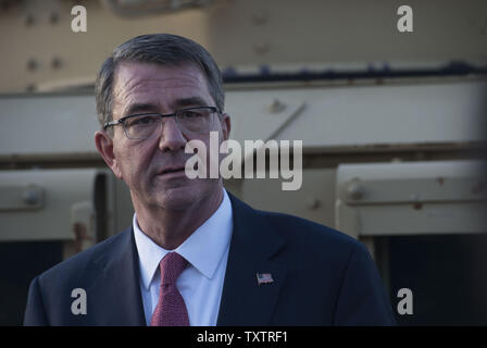 Secretary of Defense Ash Carter speaks with reporters at the Baghdad International Airport during a visit there April 18, 2016. Carter is also visiting the United Arab Emirates and Saudi Arabia to help accelerate the lasting defeat of the Islamic State of Iraq and the Levant, and participate in the U.S. Gulf Cooperation Council defense meeting. Photo by Senior Master Sgt. Adrian Cadiz/DoD/UPI - Stock Photo