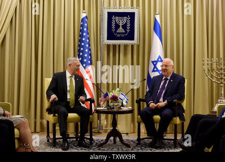 U.S. Secretary of Defense James Mattis (L) meets Israeli President Reuven Rivlin (R) at his residence in Jerusalem, Israel, April 21, 2017. Mattis is on a week long trip to the Middle East and it is his first visit to Israel as Secretary of Defense.  Photo by Debbie Hill/UPI - Stock Photo