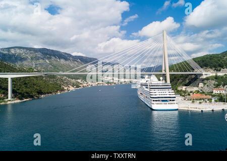 most famous Franjo Tudjman Bridge in Dubrovnik croatia - Stock Photo