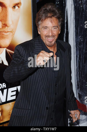 Actor Al Pacino, one of the stars of the new motion picture 'Two for the Money', arrives for the film's premiere in Beverly Hills September 26, 2005. The film also stars Matthew McConaughey, Rene Russo and Jaime King and is about a former college football star who suffers a career-ending injury and aligns himself with one of the most renowned bookies in the sports gambling business. The movie opens October 7 in the United States.    (UPI Photo/Jim Ruymen) - Stock Photo