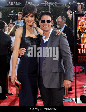 Tom Cruise, a cast member in the action comedy motion picture 'Tropic Thunder', attends the premiere of the film with his wife, actress Katie Holmes at Mann's Village Theater in the Westwood section of Los Angeles on August 11, 2008. (UPI Photo/Jim Ruymen) - Stock Photo