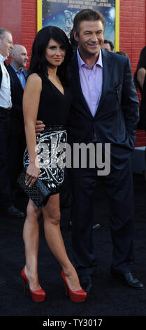 Actor Alec Baldwin, a cast member in the motion picture romantic comedy 'Rock of Ages', arrives for the premiere of the film with his girlfriend Hilaria Thomas at Grauman's Chinese Theatre in the Hollywood section of Los Angeles on June 8, 2012.  UPI/Jim Ruymen - Stock Photo