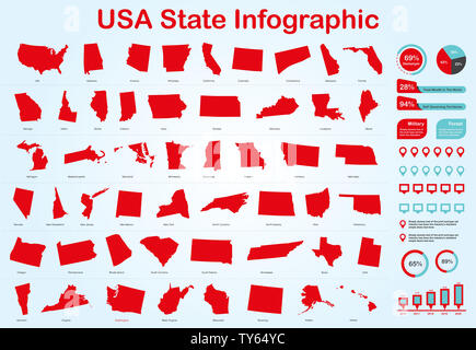 USA All State Map with Set of Infographic Elements in Red Color in Light Background. Modern Information Graphics Element for your design. - Stock Photo