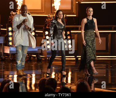 'The Fast and the Furious' cast members Tyrese Gibson, Michelle Rodriguez, and Jordana Brewster walk onstage during the MTV Movie & TV Awards at the Shrine Auditorium in Los Angeles on May 7, 2017. It will be the 26th edition of the awards, and will for the first time present honors for work in television as well as cinema.  Photo by Jim Ruymen/UPI - Stock Photo