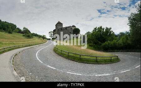 Vaduz, FL / Liechtenstein - 16 June 2019: A view of the historic Vaduz Castle in Liechtenstein - Stock Photo