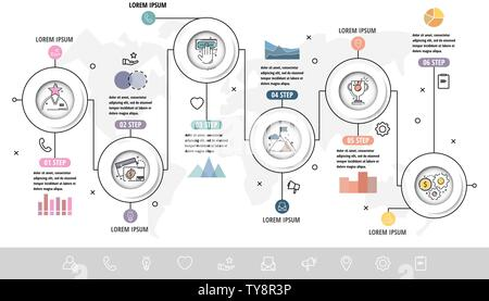 Vector Infographics flat template circles. Can be used for diagram, graph, presentation, business concept options, content, flowchart, timeline - Stock Photo