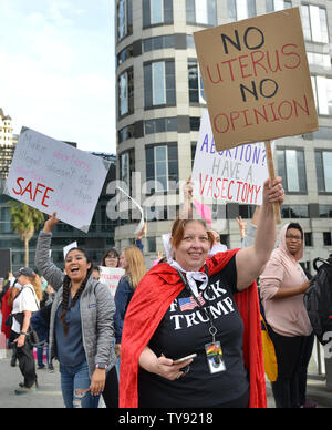 Abortion rights advocates wave their signs at a Stop Abortion Bans rally organized by NARAL Pro-Choice California in Los Angeles, California on May 21, 2019. Photo by Chris Chew/UPI - Stock Photo