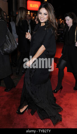 American actress Mila Kunis attends the premiere of  'Black Swan' at Vue, Leicester Square in London on October 22, 2010.     UPI/Rune Hellestad - Stock Photo