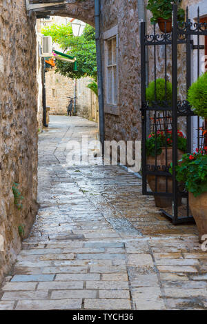 Streets of Budva old city, Adriatic coast, Montenegro - Stock Photo
