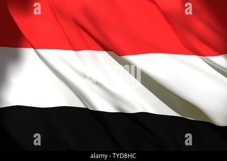 3d rendering of a Yemen national flag waving - Stock Photo