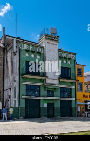 Vila Nova de Gaia, Portugal - Jun 14th, 2019 - Historic building Club Fluvial Portuense of the rowing club at the riverfront. - Stock Photo