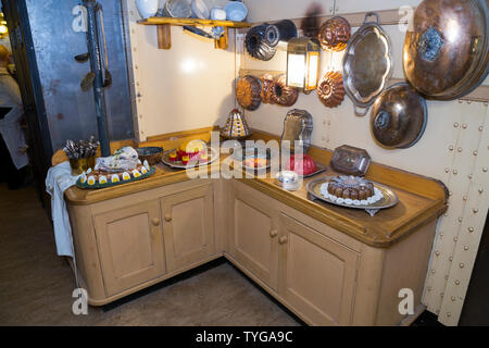Storage cupboards and food preparation area inside the galley kitchen on board the SS Great Britain. Promenade deck. Brunel's ship is now a museum attraction in drydock at Bristol, UK (109) - Stock Photo