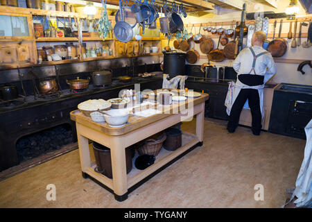Galley kitchen and food preparation area on board the SS Great Britain. Promenade deck. Brunel's ship is now a museum attraction in drydock at Bristol, UK (109) - Stock Photo