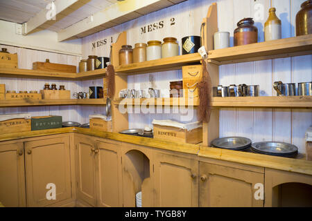 Mess shelves and shelf storage, & cupboards and food preparation area inside the galley kitchen on board the SS Great Britain. Promenade deck. Brunel's ship is now a museum attraction in dry dock. Bristol. UK (109) - Stock Photo