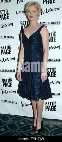 Actress Gretchen Mol poses at the April 10, 2006 New York premiere of her new film 'The Notorious Bettie Page' which is based on the life of the 1950's pin up girl.   (UPI Photo/Ezio Petersen) - Stock Photo