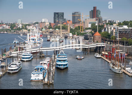 Elevated view of boats and buildings at NorderElbe, part of the waterfront at Hamburg, Germany. - Stock Photo