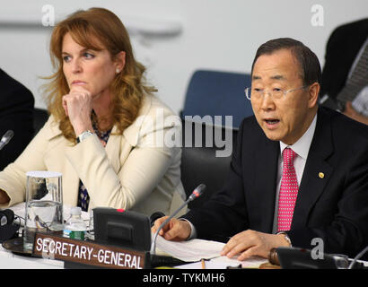 United Nations Secretary General Ban Ki-moon talks as Sarah Ferguson, Dutchess of York, listens during the 'Engaging Philanthropy to Promote Gender Equality and Women's Empowerment' seminar held at the UN on February 22, 2010 in New York City. The seminars are addressing issues of women empowerment and equality in third-world nations.     UPI /Monika Graff - Stock Photo