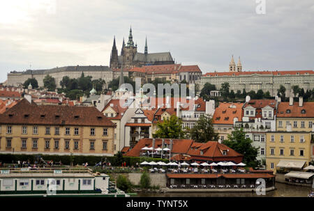 Panoramic view of Prague, with Prague Castle. Czech Republic - Stock Photo