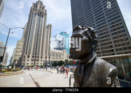Jean Baptiste Point du Sable founder of Chicago statue at the start of magnificent mile downtown Chicago IL USA - Stock Photo