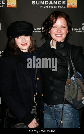 Actresses Winona Ryder (L) and Gretchen Mol arrive for a screening of their film 'The Ten' at the Library Center Theatre during the Sundance Film Festival in Park City, Utah on January 19, 2007.   (UPI Photo/David Silpa) - Stock Photo