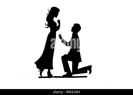 Lover black and white silhouette - Stock Photo