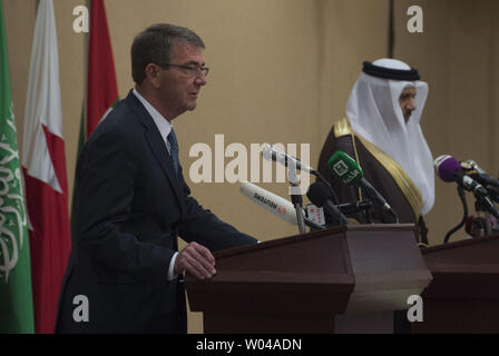 Secretary of Defense Ash Carter speaks with reporters during a joint press conference with Gulf Cooperation Council Secretary General Abdullatif bin Rashid Al Zayani (right) during the Gulf Cooperation Council Defense Ministerial in Riyadh, Saudi Arabia, on April 20, 2016. Carter is visiting Saudi Arabia to help accelerate the lasting defeat of the Islamic State of Iraq and the Levant, and participate in the U.S. Gulf Cooperation Council defense meeting. Photo by Senior Master Sgt. Adrian Cadiz/DoD/UPI - Stock Photo