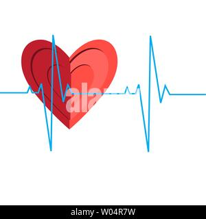 Illustration of a medical heart encephalogram on a white background. - Stock Photo