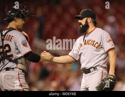 San Francisco Giants pitcher Brian Wilson (R) and catcher Eli Whiteside celebrate their 7-5 win over the St. Louis Cardinals in 11 innings at Busch Stadium in St. Louis on June 1, 2011. UPI/Bill Greenblatt - Stock Photo