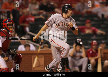 San Francisco Giants Nate Schierholtz watches his go-ahead RBI double in the 11th inning against the St. Louis Cardinals at Busch Stadium in St. Louis on June 1, 2011. San Francisco won the game 7-5 in 11 innings. UPI/Bill Greenblatt - Stock Photo