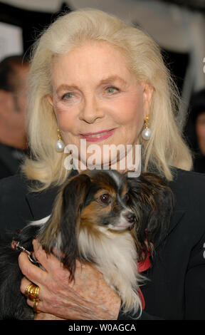 Screen legend Lauren Bacall arrives with her dog Sophie for the Toronto International Film Festival gala premiere of 'The Walker' at Roy Thomson Hall in Toronto, Canada on September 13, 2007. (UPI Photo/Christine Chew) - Stock Photo