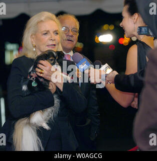 Screen legend Lauren Bacall talks with television reporters on the red carpet as she arrives with her dog Sophie for the Toronto International Film Festival gala premiere of 'The Walker' at Roy Thomson Hall in Toronto, Canada on September 13, 2007. (UPI Photo/Christine Chew) - Stock Photo