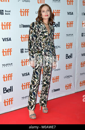 Isabelle Huppert arrives for the world premiere of 'Greta' at Ryerson Theatre on opening day of the 43rd Toronto International Film Festival in Toronto, Canada on September 6, 2018. Photo by Christine Chew/UPI - Stock Photo