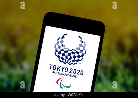 Brazil. 3rd June, 2019. In this photo illustration a Tokyo 2020 Paralympic Games (2020 Summer Paralympics) logo seen displayed on a smartphone. Credit: Rafael Henrique/SOPA Images/ZUMA Wire/Alamy Live News - Stock Photo