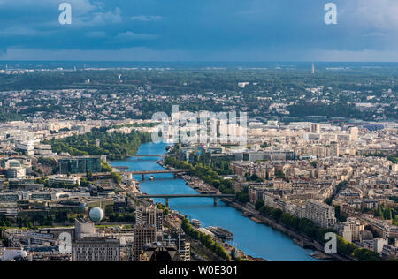 France, 15th and 16th arrondissements of Paris, view from the Eiffel Tower toward the south-west periphery (Seine river, Maison de la Radio) - Stock Photo