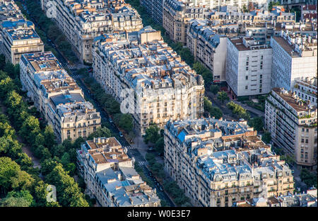 France, 7th arrondissement of Paris, view from the Eiffel Tower - Stock Photo