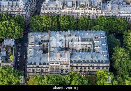 France, 7th arrondissement of Paris, view from the Eiffel Tower (Haussmannian buildings) - Stock Photo
