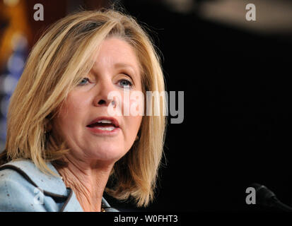 Rep. Marsha blackburn (R-TN) speaks on the health care reform bill and the possibility that the bill could provide public funding for abortions, in Washington on March 18, 2010. UPI/Kevin Dietsch - Stock Photo