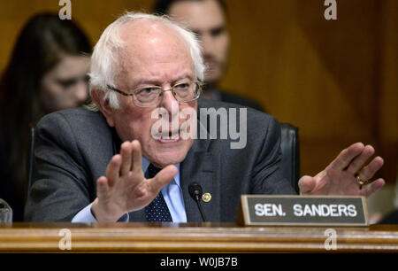 Sen. Bernie Sanders sharply questions Oklahoma Attorney General Scott Pruitt, nominated to be the next administrator for the EPA, during Senate Environment and Public Works Committee confirmation hearings, on Capitol Hill, January 18, 2017, in Washington, DC. Sanders questioned Pruitt's stand on whether human activity is responsible for climate change.             Photo by Mike Theiler/UPI - Stock Photo