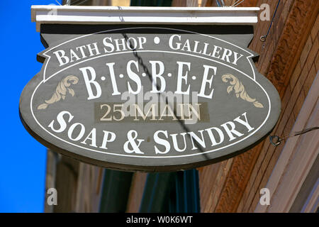 Soap & Sundry bath shop overhead sign hanging outside the store on Main Street in downtown Bisbee, AZ - Stock Photo