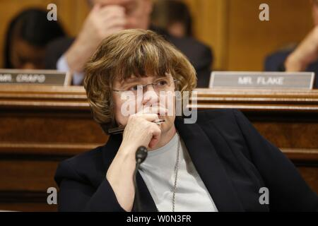 Christine Blasey Ford, the woman accusing Supreme Court nominee Brett Kavanaugh of sexually assaulting her at a party 36 years ago, testifies before the US Senate Judiciary Committee on Capitol Hill in Washington, DC, September 27, 2018.   Photo by Michael Reynolds/UPI - Stock Photo