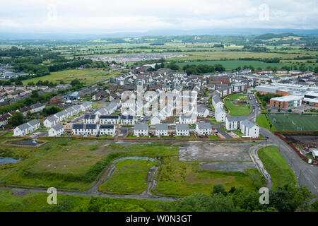 Elevated view of new houses in Raploch district of Stirling showing new housing and site of former houses, Scotland, UK - Stock Photo