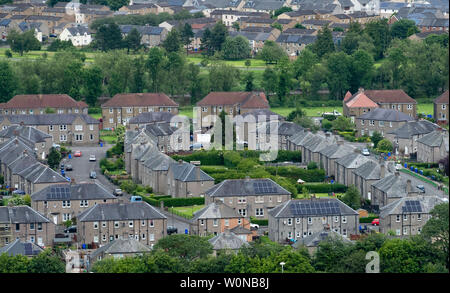 Elevated view of old former social housing scheme in Raploch district of Stirling , Scotland, UK - Stock Photo